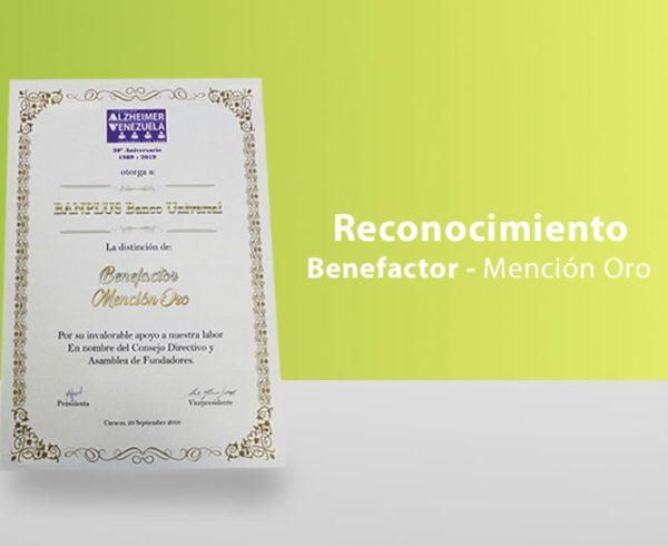 blog diploma final 600x490 - Recibimos la distinción como Benefactor, Mención Oro por la Fundación Alzheimer de Venezuela