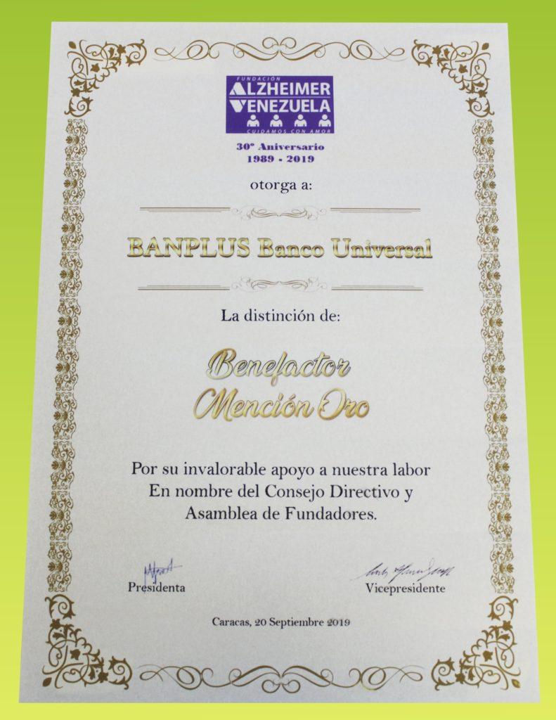 reconocimeinto diploma alzheimer min 791x1024 - Recibimos la distinción como Benefactor, Mención Oro por la Fundación Alzheimer de Venezuela