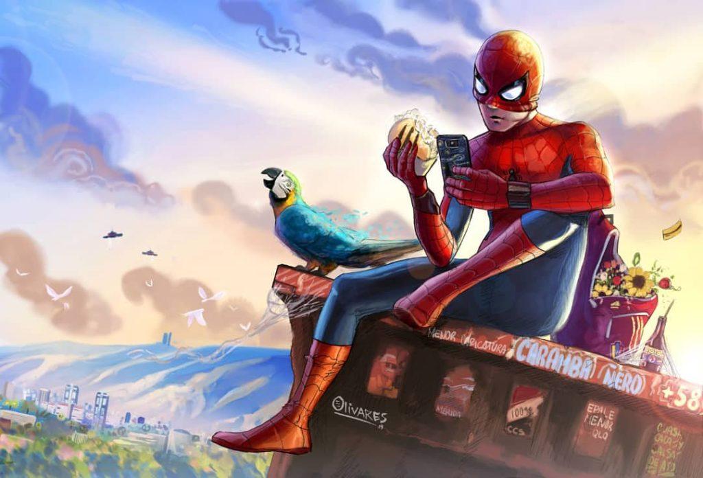 Spiderman almorzando de Oscar Olivares - Desde Banplus apoyamos el talento artístico nacional | Oscar Olivares nos representa en Venecia, Italia