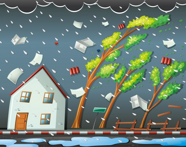 Cuadro Riesgos meteorológicos  - Te recordamos las medidas de Seguridad y Prevención a la hora del teletrabajo