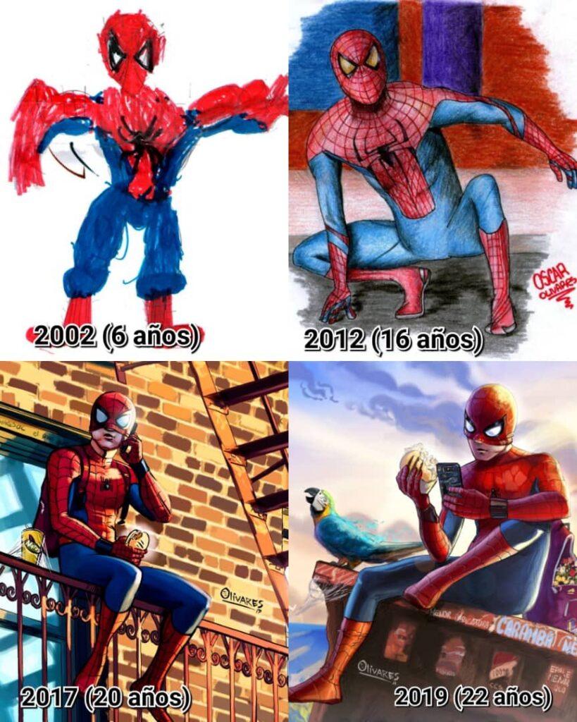 Hombre araña de Oscar Olivares 819x1024 - Pequeños y grandes de Banplus motivados a descubrir sus talentos | De la mano de Oscar Olivares, artista