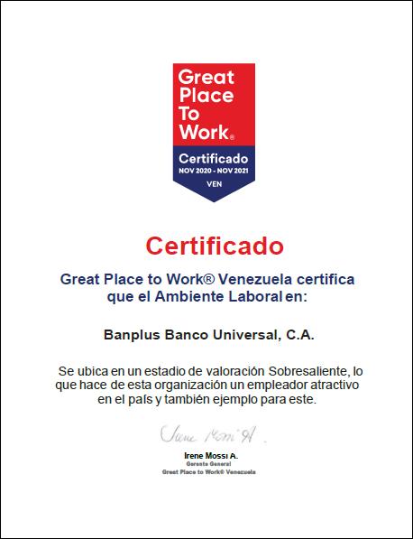 GPTW Certificado 20 21 Blog - Certificación | En Banplus afianzamos nuestro camino para ser un Gran Lugar para Trabajar